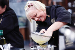 Chef Sherry Yard prepares her Round 1 dish, Classic Denver Omelet, as seen on Food Network's Cutthroat Kitchen, Season 11.
